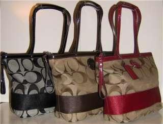 * NWT Coach Signature Stripe Tote Handbag 17433 Retails