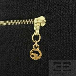 St. John Sport Essentials Black Hooded Knit Sweater w/ Gold Zipper Sz
