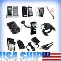 Accessory Case Car Charger Stylus battery Bundle For HTC EVO 4G Sprint