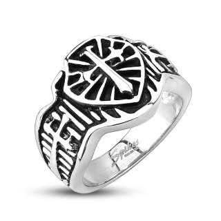 Stainless Steel Mens Glorious Triple Cross Ring Size 9 14