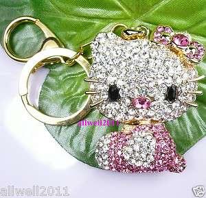 Hello Kitty Figure Keychain Crystal Bling Rhinestone Super Cute