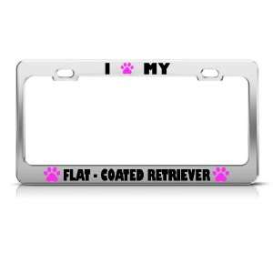 Flat Coated Retriever Paw Love Pet Dog Metal license plate frame Tag