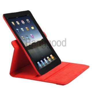 Stylish Rotating Leather Case Smart Cover With Swivel Stand RED