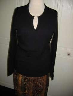 NEW Ladies BLACK ITALIAN MERINO WOOL~V Neck Sweater~PL
