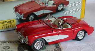 1957 Chevrolet Corvette diecast metal model car toy in box Red white