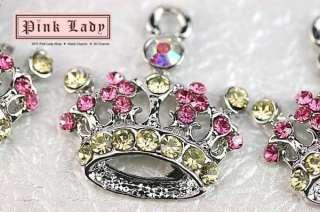 H432 Cute Crystal Crown Charm Pendant Wholesale (3pcs)