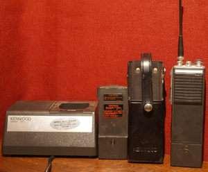 Kenwood TK 300 two way UHF hand held radio, charger & 2 battery packs
