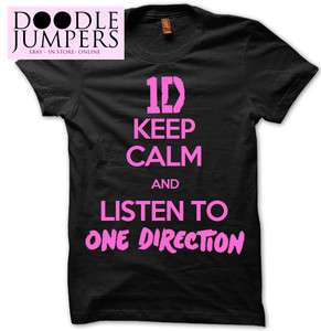 KEEP CALM AND LISTEN TO 1 ONE DIRECTION T SHIRT TOUR TEE T SHIRT HARRY