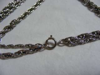Vtg TORTOLANI Silver Plated ROSE Flower Pendant Pewter Necklace Chunky