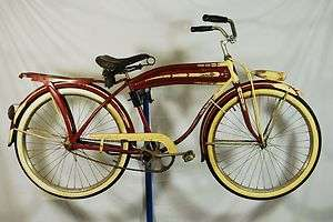 Vintage 1940s Westfield Clipper balloon tire bicycle bike Columbia red