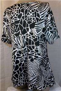 Womens Plus Size Clothing Black White Shirt Top Blouse 1X 2X 3X