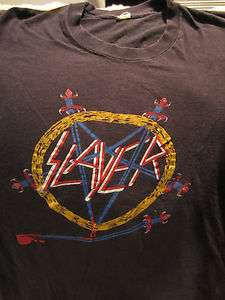 SLAYER Concert T Shirt Tour Shirt 1985 Size Md Hell Awaits Metal Rock