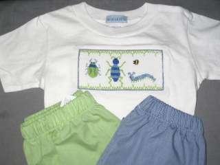 NWT VIVE La FETE SMOCKED Boys tee shirt 4 5 6 7 BUGS WORM BEE