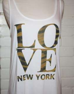 FOREVER 21 Top T Shirt OUTFITTERS White I LOVE NEW YORK CITY