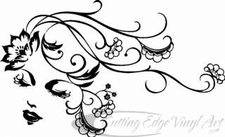 WOMAN / FLOWING HAIR, VINYL WALL ART, DECAL, STICKERS