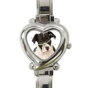 American Staffordshire Puppy Dog Heart Shaped Italian Charm Watch