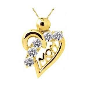 14K Yellow Gold Graceful Heart Gemstone Mom Pendant Diamond , Chain