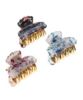 null (Multi Col) 3pk Mini Floral Bulldog Clips  244754799  New Look