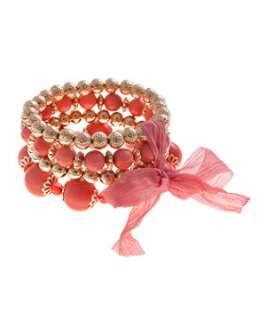Coral (Orange) Ribbon Beaded Bracelet  228594183  New Look