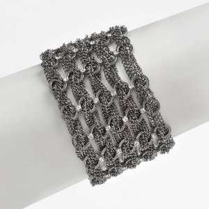 Black Ruthenium Finish Multi Chain Crystal Station Bracelet Jewelry