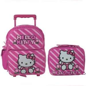 Hello Kitty Pink LARGE Rolling Backpack Bag Tote 16 Luggage Lunchbox