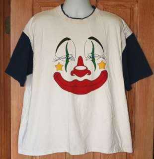 VINTAGE CLOWN FACE T SHIRT XXL USA TWO SIDED HAPPY SAD 2XL