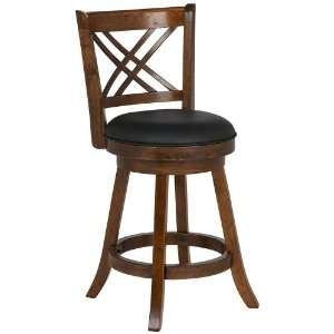 Cross Hatch Wood Black Faux Leather 24 High Counter Stool