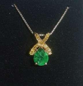 14K YG ESTATE EMERALD AND YELLOW DIAMOND NECKLACE   LB1730