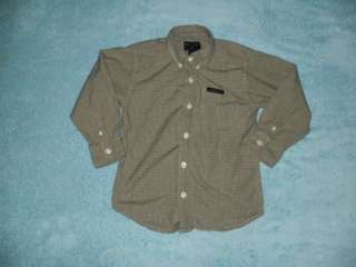 NAUTICA boys 5 yellow Plaid long sleeve button dress shirt C27