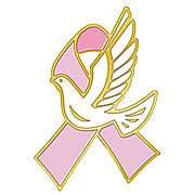 Breast Cancer Pink Ribbon White Hope Dove Lapel Pin NWT