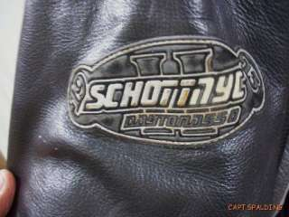 Schott.Black Leather Cafe Racer Motorcycle Biker Jacket.Patches
