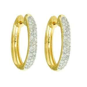 10k Yellow Gold Oval Pave Diamond Hoop Earrings (1/2 cttw