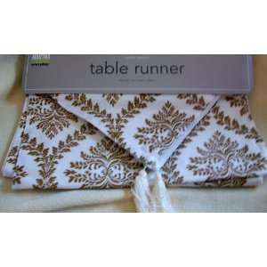 Holiday Christmas, Golden Garland, White and Gold, Table Runner