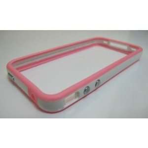 White and Pink Premium Bumper Case for Apple iPhone 4   AT