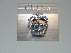 NWT Guess silver/rhinestone crown ring w/GG logo