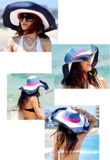 Striped Hats Cute Lady Summer Beach Wide Brim Straw Sun Hat Cap