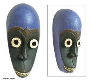 BLUE CROWN~Gabon Woodcarving WALL Art~African FOLK MASK