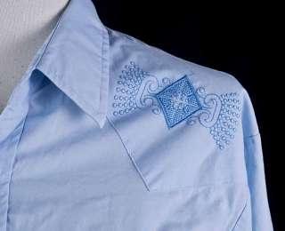 Ely Cattleman Blue Diamond Pearl Snap Western Shirt L