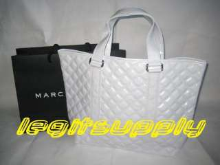 MARC JACOBS Shiny White Quilted Tote Bag Handbag Purse