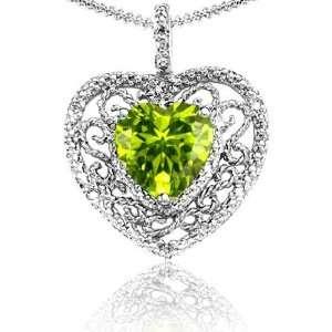 Candygem 10k Gold Genuine Heart Shaped Peridot and Diamond