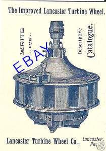 1894 LANCASTER GRIST MILL WATER WHEEL TURBINE AD PA