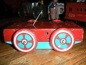 RARE Wyandotte HOKY POKY Clown Wind up Tin Toy Hand Car