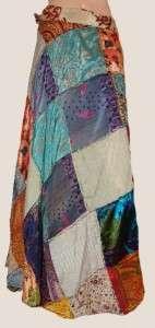 Silk Hippie Boho Patchwork Fairy Wrap Bohemian Sari Long Skirt