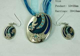 Wedding Gemstone Flower Oval Necklace Pendant Earrings Set Jewelry
