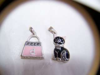 Sterling Silver Pendant & Charm, Cat & Purse, Enamel
