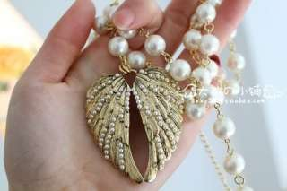 HOT Vintage Retro Style Angel Wings Imitation Pearl Long Necklace