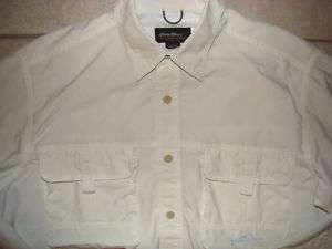 EDDIE BAUER MENS SPORTSMAN SHIRT SIZE LARGE WHITE