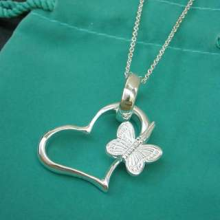 N179 SALE SILVER PLATED Butterfly HEART LINK NECKLACE