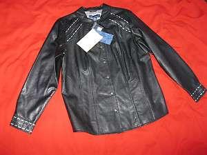 New Susan Graver Style Womens Size Large Black Shirt Jacket 100%