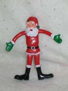 Vintage Christmas PVC Rubber Santa Bendy Toy Hong Kong